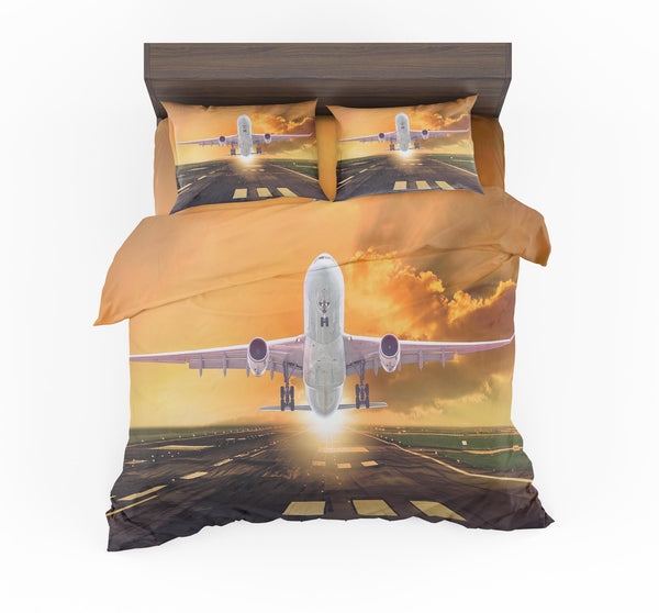 Amazing Departing Aircraft Sunset & Clouds Behind Designed Bedding Sets