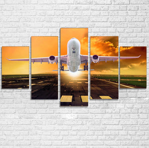 Amazing Departing Aircraft Sunset & Clouds Behind Printed Multiple Canvas Poster