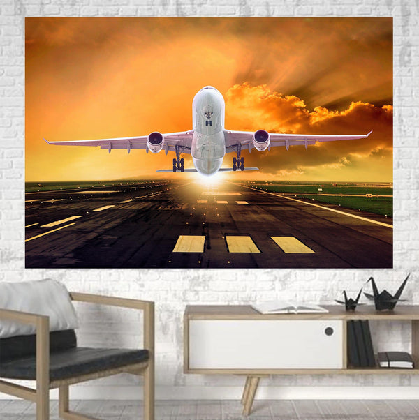Amazing Departing Aircraft Sunset & Clouds Behind Printed Canvas Posters (1 Piece)