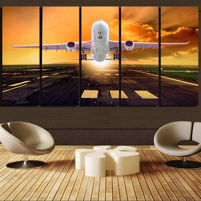 Amazing Departing Aircraft Sunset & Clouds Behind Printed Canvas Prints (5 Pieces)
