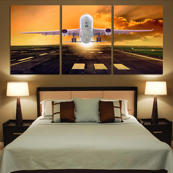 Amazing Departing Aircraft Sunset & Clouds Behind Printed Canvas Posters (3 Pieces)