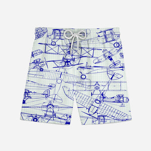 Amazing Drawings of Old Aircrafts Designed Swim Trunks