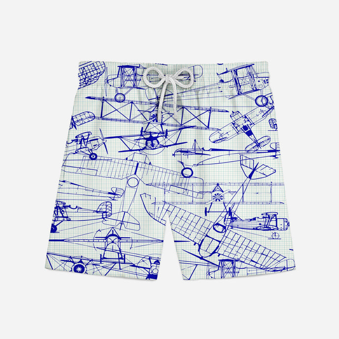 Amazing Drawings of Old Aircrafts Designed Swim Trunks & Shorts