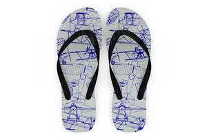 Amazing Drawings of Old Aircrafts Designed Slippers (Flip Flops)