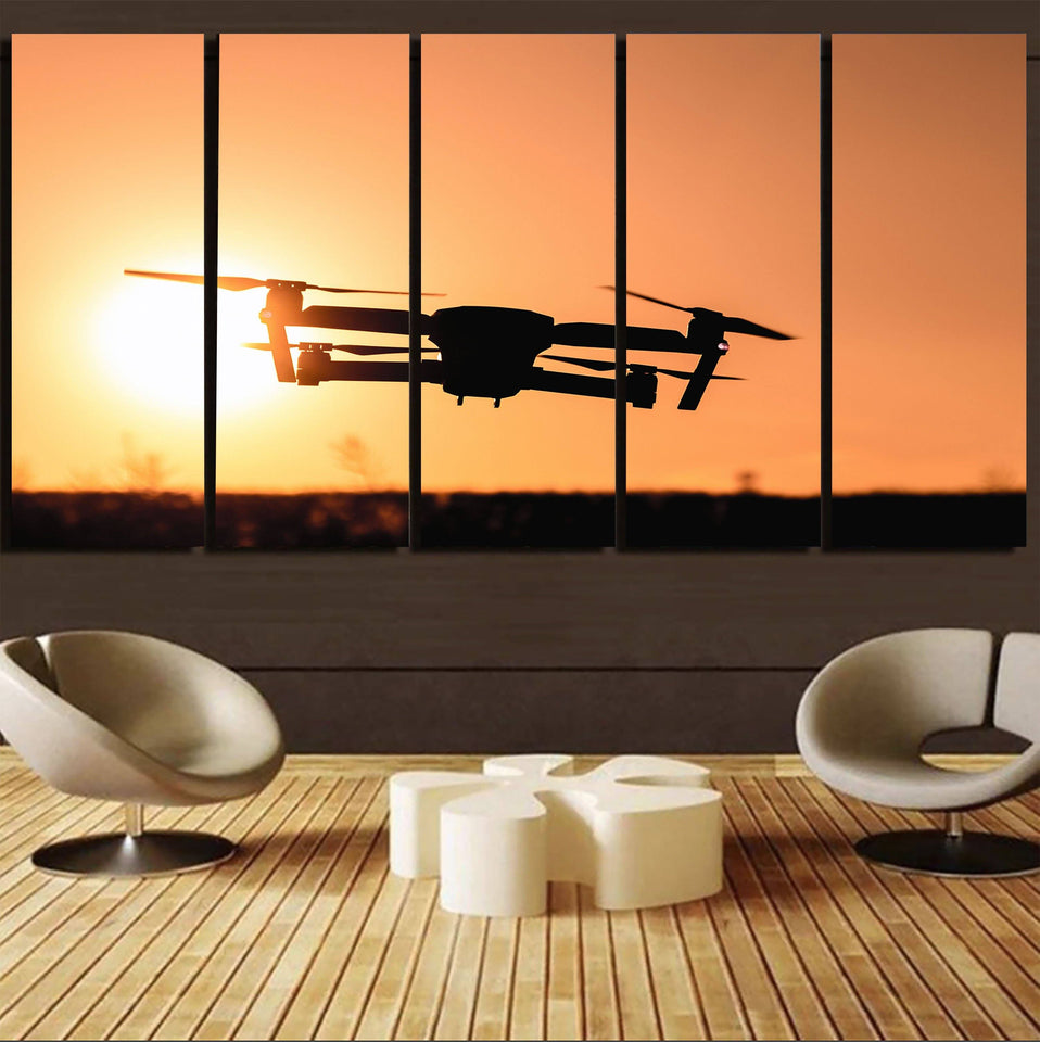 Amazing Drone in Sunset Printed Canvas Prints (5 Pieces) Aviation Shop
