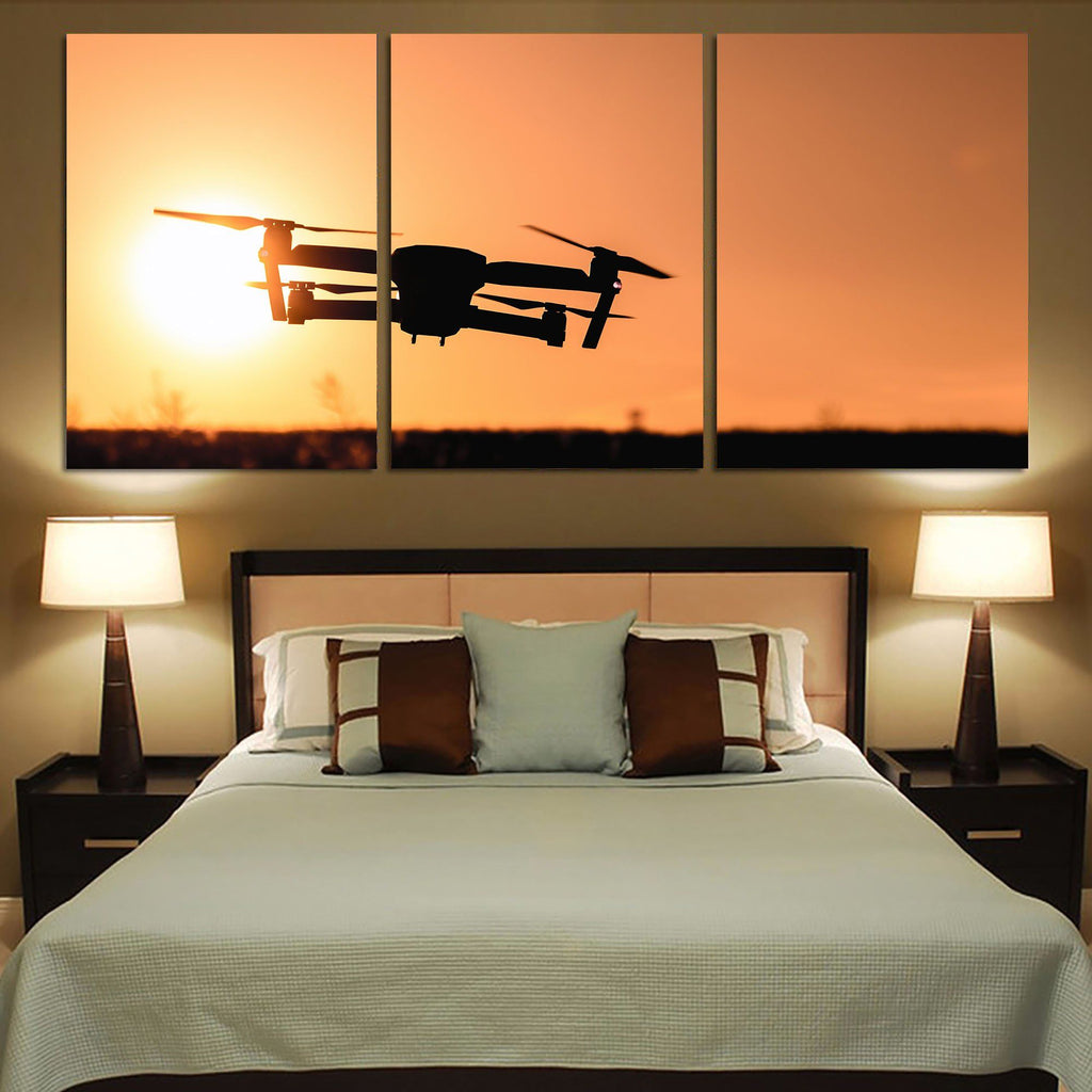 Amazing Drone in Sunset Printed Canvas Posters (3 Pieces)