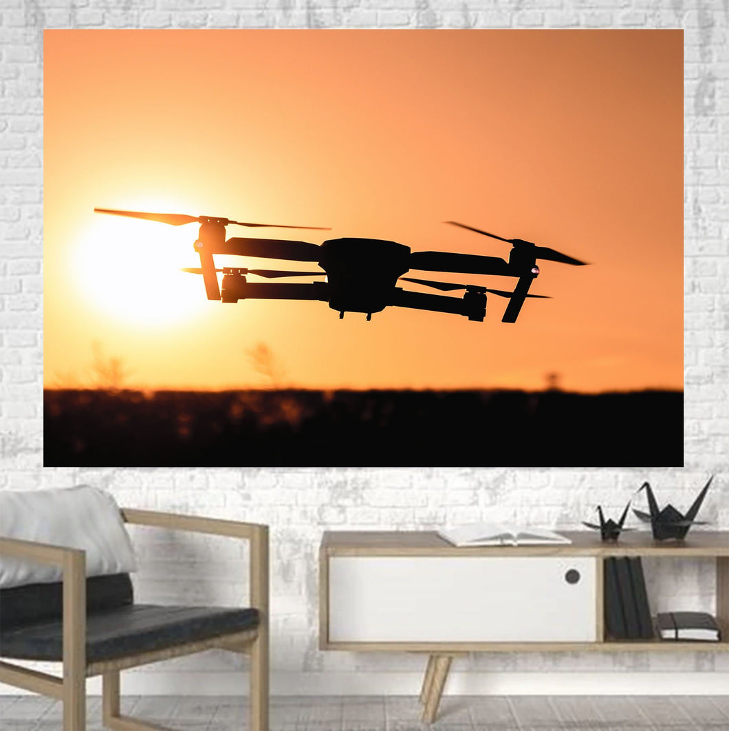 Amazing Drone in Sunset Printed Canvas Posters (1 Piece) Aviation Shop
