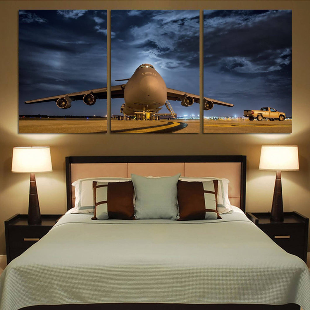 Amazing Military Aircraft at Night Printed Canvas Posters (3 Pieces) Aviation Shop