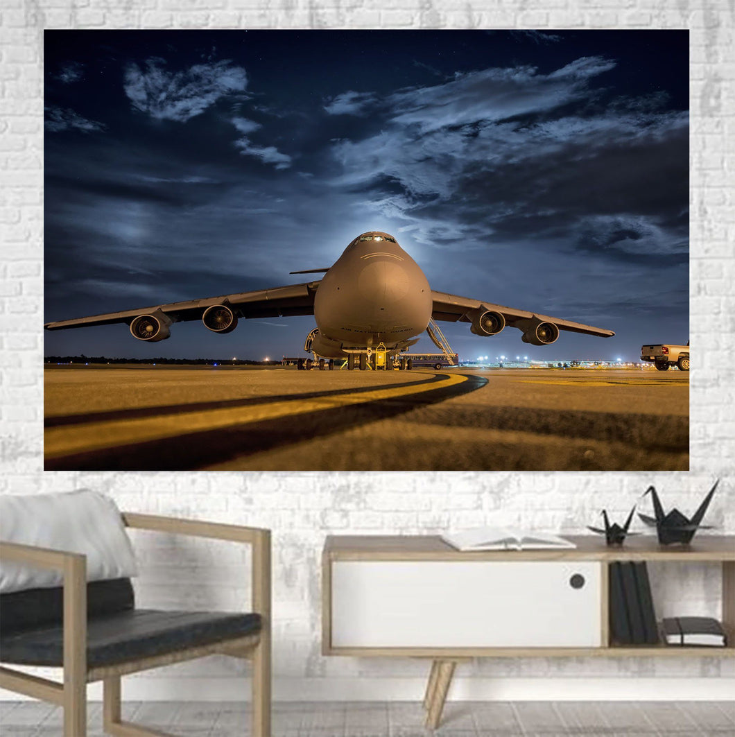 Amazing Military Aircraft at Night Printed Canvas Posters (1 Piece) Aviation Shop