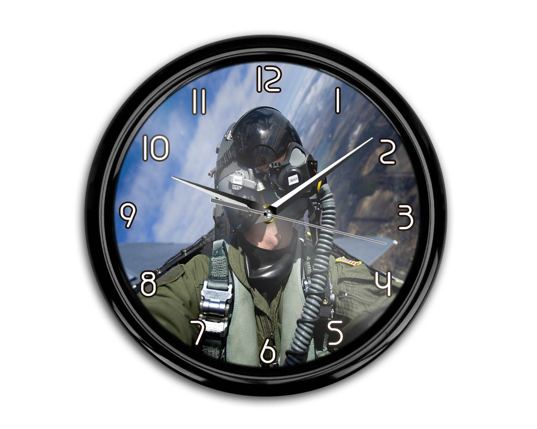 Amazing Military Pilot Selfie Printed Wall Clocks Aviation Shop
