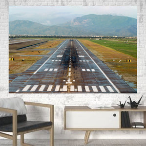 Amazing Mountain View & Runway Printed Printed Canvas Posters (1 Piece) Aviation Shop