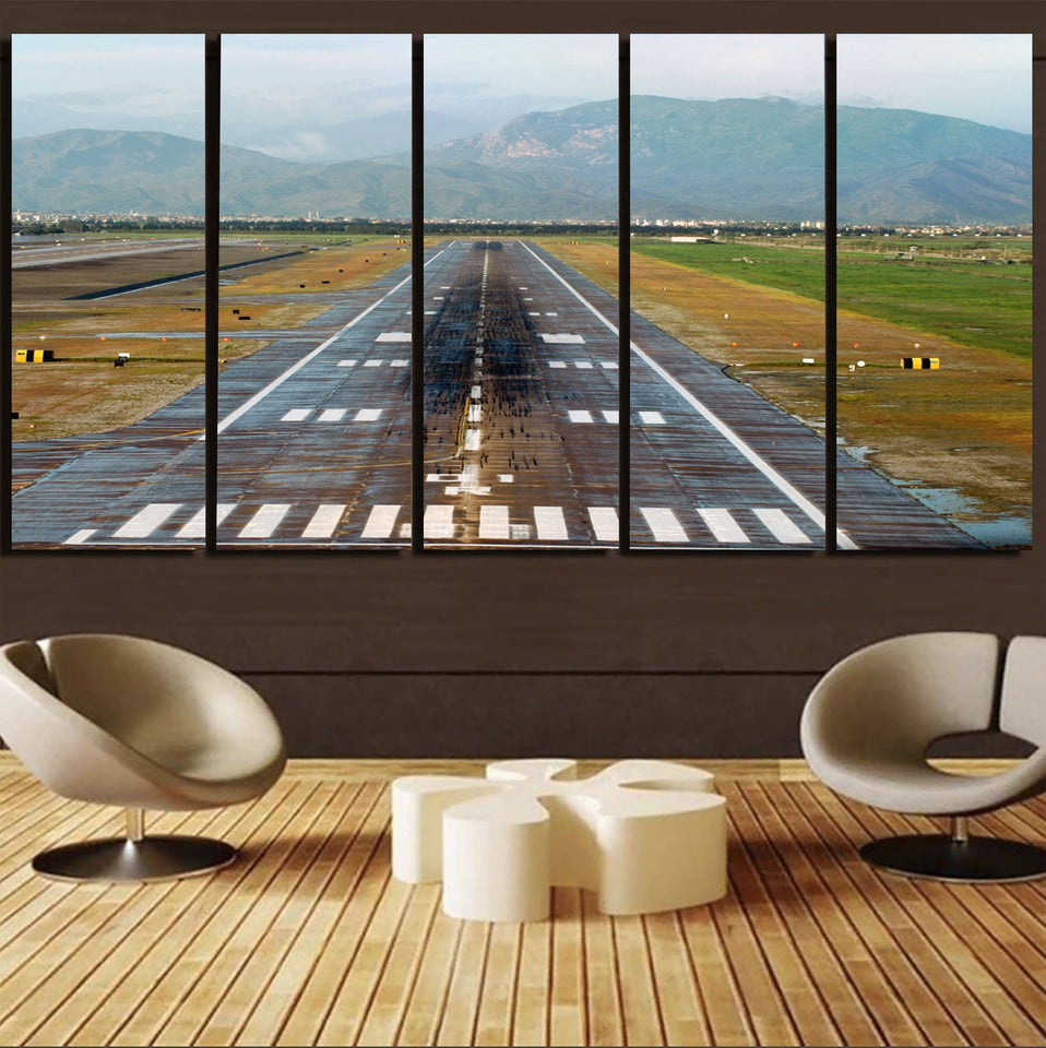 Amazing Mountain View & Runway Printed Canvas Prints (5 Pieces) Aviation Shop
