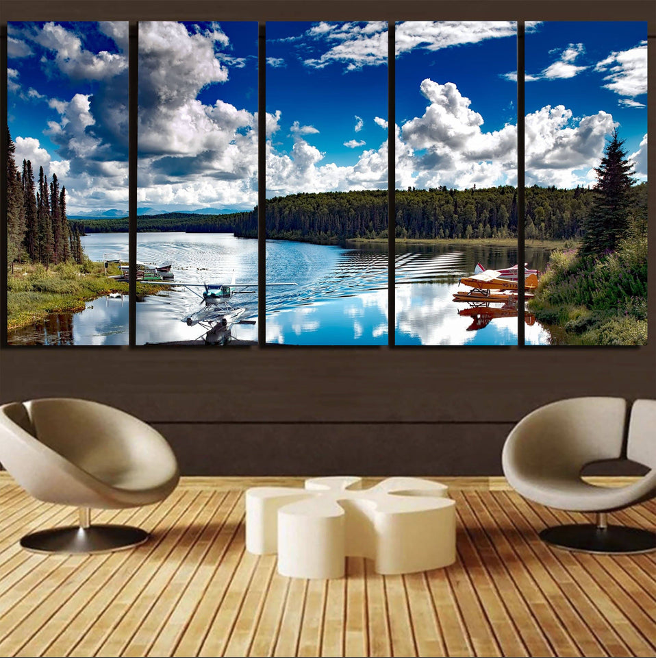 Amazing Scenary & Sea Planes Printed Canvas Prints (5 Pieces) Aviation Shop