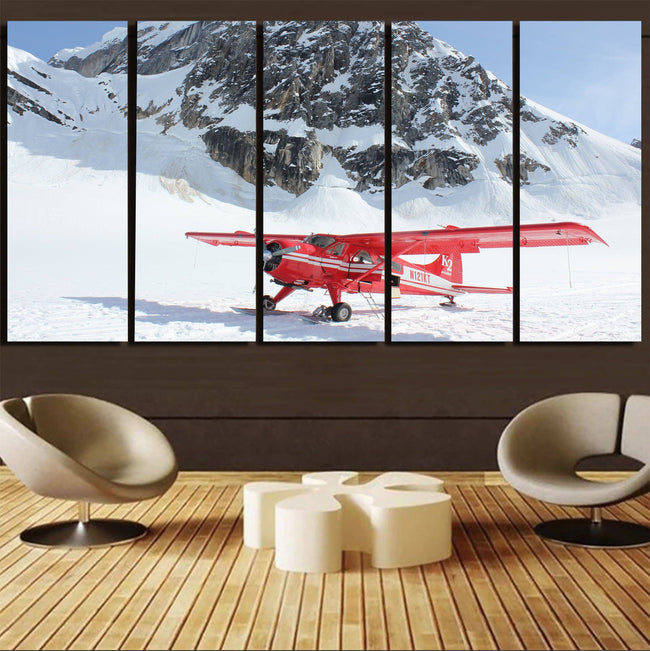 Amazing Snow Airplane Printed Canvas Prints (5 Pieces) Aviation Shop