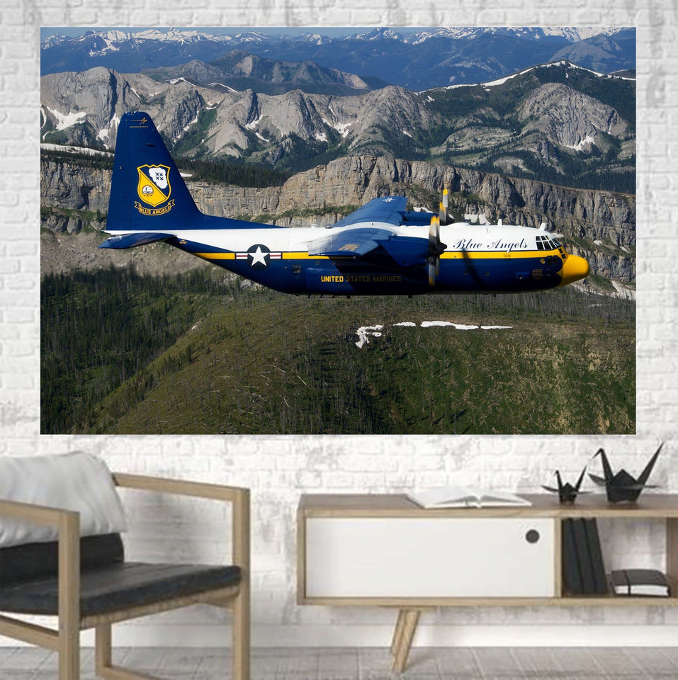 Amazing View with Blue Angels Aircraft Printed Canvas Posters (1 Piece) Aviation Shop