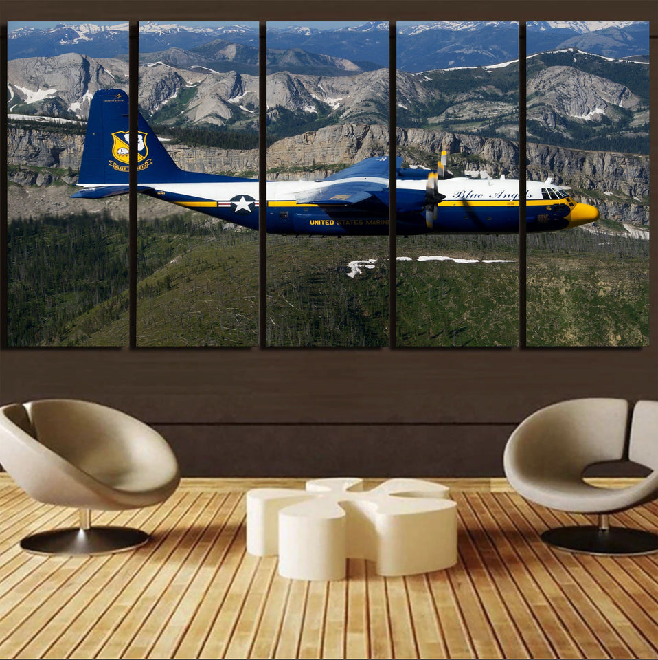 Amazing View with Blue Angels Aircraft Printed Canvas Prints (5 Pieces) Aviation Shop