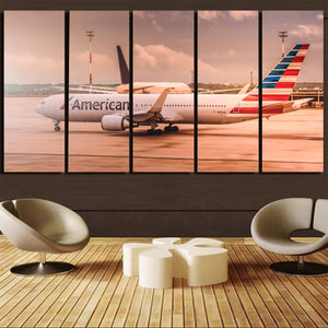 American Airlines Boeing 767 Printed Canvas Prints (5 Pieces) Aviation Shop