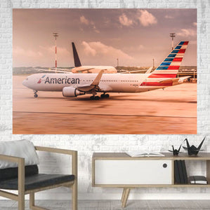 American Airlines Boeing 767 Printed Canvas Posters (1 Piece) Aviation Shop