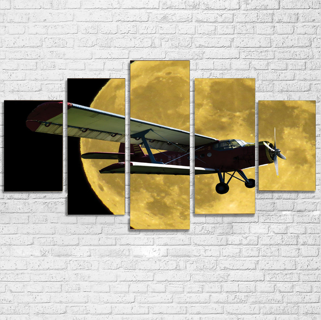 Antonov-2 With Moon Printed Multiple Canvas Poster Aviation Shop