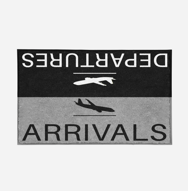 Departure and Arrivals (Gray) Designed Door Mats Aviation Shop