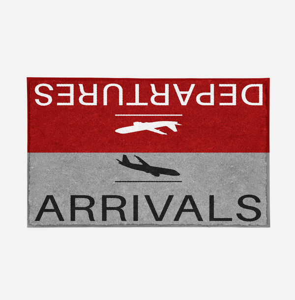 Departure and Arrivals (Red) Designed Door Mats Aviation Shop