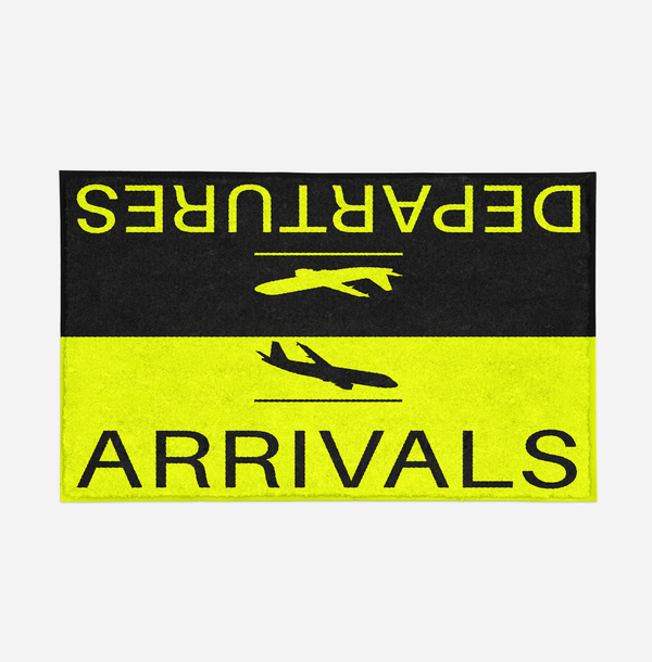 Departure and Arrivals (Yellow) Designed Door Mats Aviation Shop