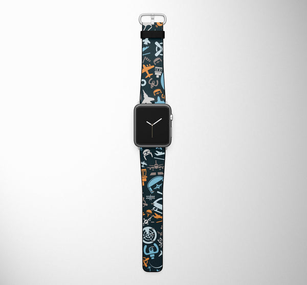 Aviation Icons Designed Leather Apple Watch Straps