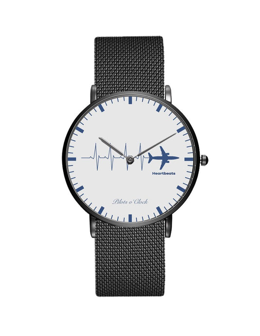 Aviation Heartbeats Stainless Steel Strap Watches Pilot Eyes Store Black & Stainless Steel Strap