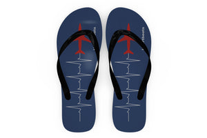Aviation Heartbeats Designed Slippers (Flip Flops)