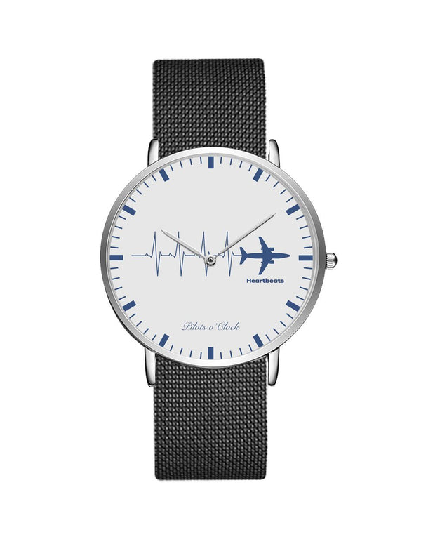 Aviation Heartbeats Stainless Steel Strap Watches Pilot Eyes Store Silver & Silver Stainless Steel Strap
