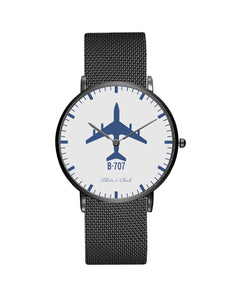 Boeing 707 Stainless Steel Strap Watches Pilot Eyes Store Black & Stainless Steel Strap