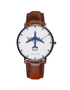 Boeing 707 Leather Strap Watches Pilot Eyes Store Black & Brown Leather Strap