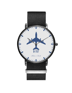 Boeing 707 Leather Strap Watches Pilot Eyes Store Silver & Black Nylon Strap