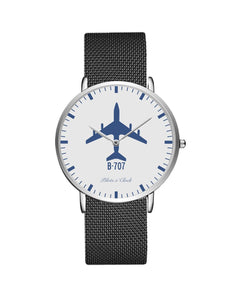 Boeing 707 Stainless Steel Strap Watches Pilot Eyes Store Silver & Silver Stainless Steel Strap