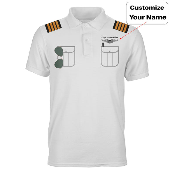 Customizable Pilot Uniform (Badge 1) Designed 3D Polo T-Shirts