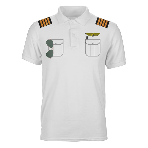 Customizable Pilot Uniform (Badge 2) Designed 3D Polo T-Shirts