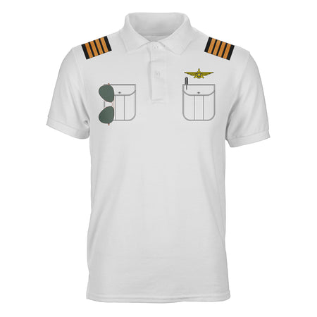 Customizable Pilot Uniform (Badge 3) Designed 3D Polo T-Shirts