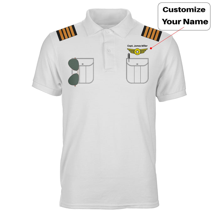 Customizable Pilot Uniform (Badge 4) Designed 3D Polo T-Shirts
