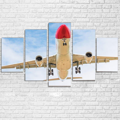 Beautiful Airbus A330 on Approach Printed Multiple Canvas Poster