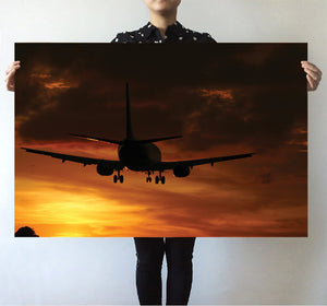 Beautiful Aircraft Landing at Sunset Printed Posters Aviation Shop