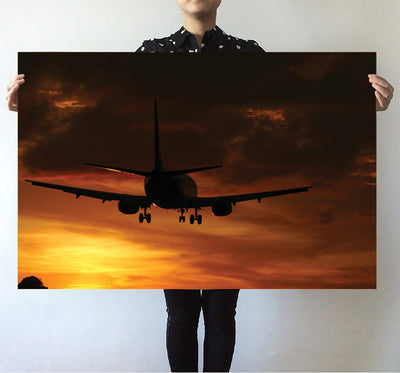 Beautiful Aircraft Landing at Sunset Printed Posters