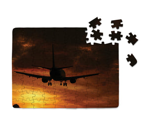 Beautiful Aircraft Landing at Sunset Printed Puzzles Aviation Shop