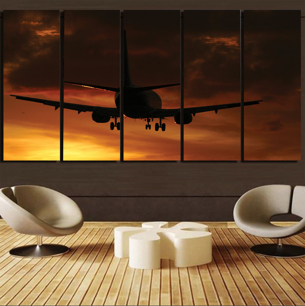 Beautiful Aircraft Landing at Sunset Printed Canvas Prints (5 Pieces) Aviation Shop