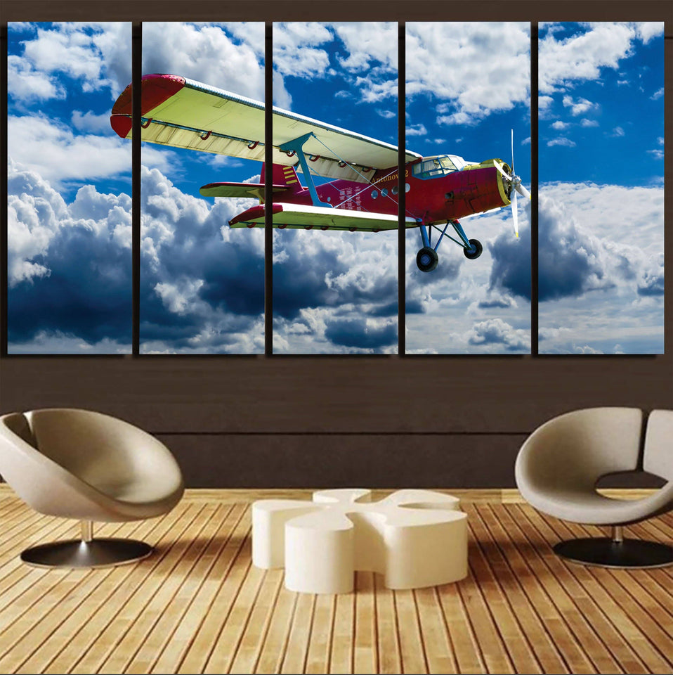 Beautiful Clouds & Antonov-2 Printed Canvas Prints (5 Pieces) Aviation Shop