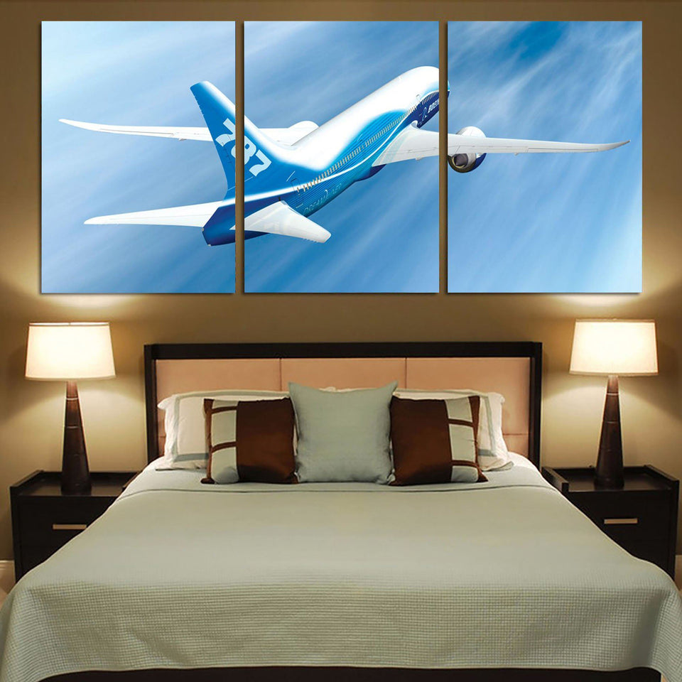 Beautiful Painting of Boeing 787 Dreamliner Printed Canvas Posters (3 Pieces) Aviation Shop