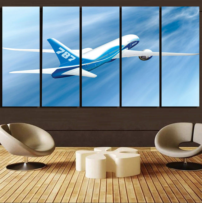 Beautiful Painting of Boeing 787 Dreamliner Printed Canvas Prints (5 Pieces) Aviation Shop