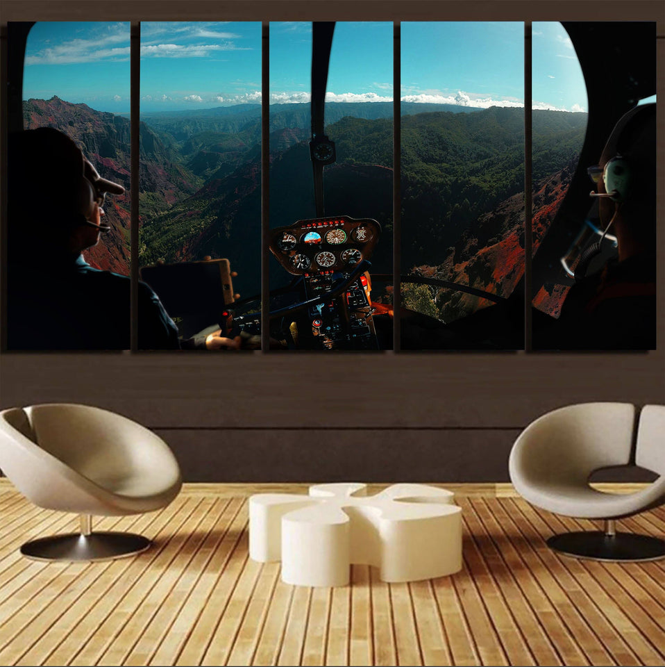 Beautiful Scenary Through Helicopter Cockpit Printed Canvas Prints (5 Pieces) Aviation Shop