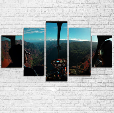 Beautiful Scenary Through Helicopter Cockpit Printed Multiple Canvas Poster