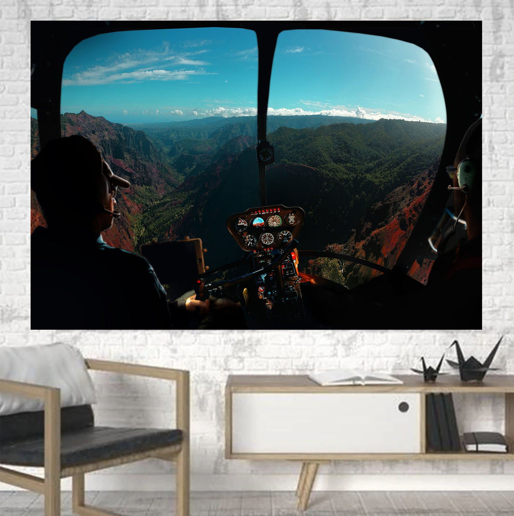 Beautiful Scenary Through Helicopter Cockpit Printed Canvas Posters (1 Piece) Aviation Shop
