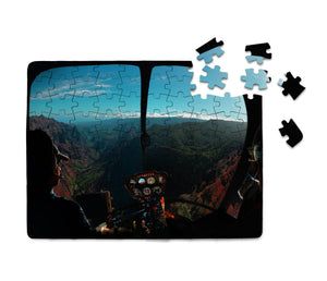 Beautiful Scenary Through Helicopter Cockpit Printed Puzzles Aviation Shop